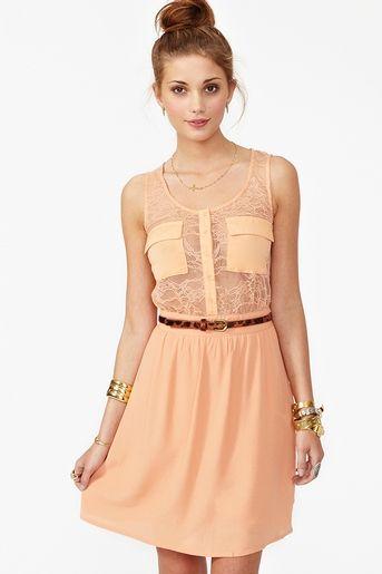 Sheer Up dress in Peach