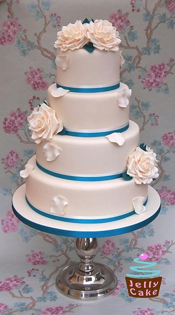 Teal and Ivory Roses Wedding Cake by www.jellycake.co.uk, via Flickr