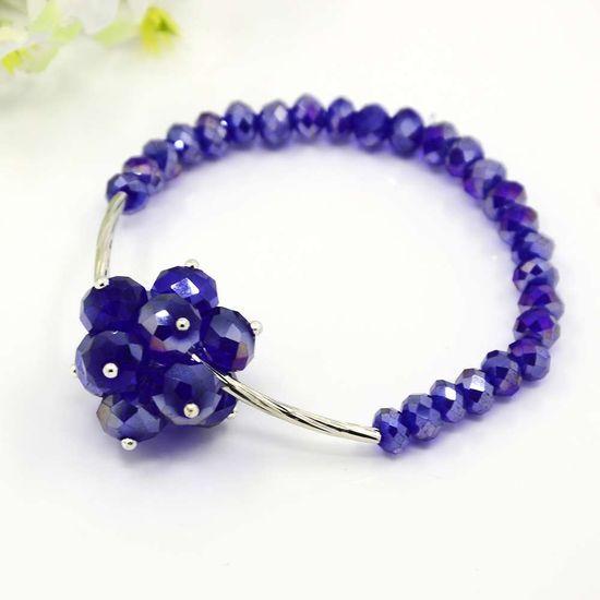 PandaHall Jewelry—Fashionable Electroplate Glass Bracelets with Brass Tube Beads