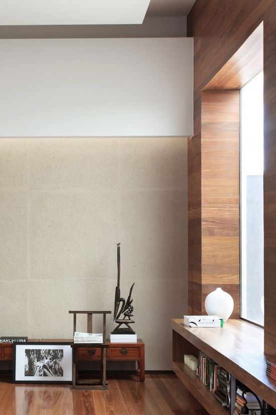Built-in storage in window frame - OM House by Studio Guilherme Torres.