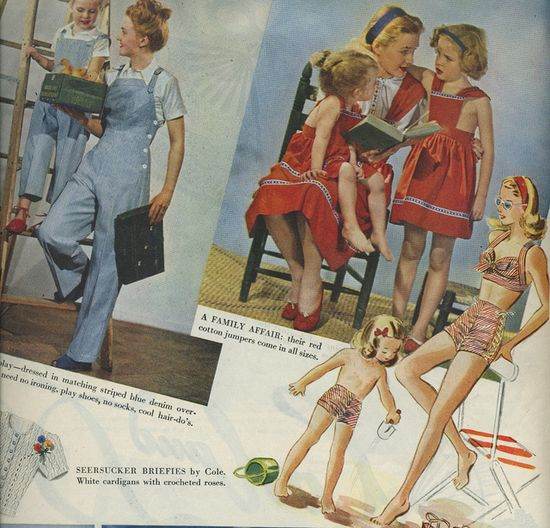 Charming 1940s mother-daughter matching fashions (love the overalls!). #vintage #1940s #fashion #kids_clothes