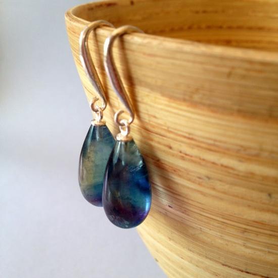 Rainbow Fluorite Earrings Stone Earrings Teal Earrings by AinaKai