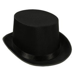 Satin Sleek Top Hat (black) Party Accessory  (1 count) -  #Accessory, #Black, #Count, #Party, #Satin, #Sleek