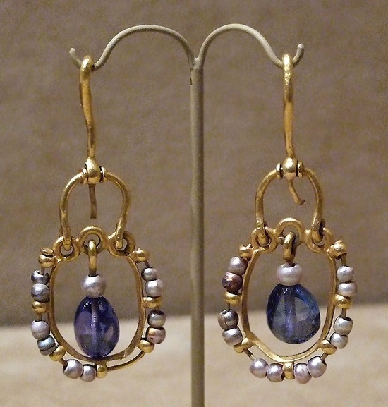 Gold Earrings with Pearls and Sapphires  Byzantine, found in 1902 at Karavas, Cyprus  Made 500-700