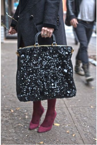 a sequinned tote bag