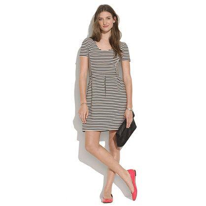 Bistro Dress in Ridgestripe - waist defined dresses - shopmadewell's DRESSES - J.Crew