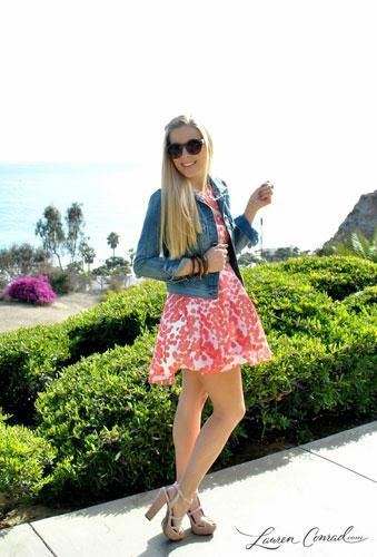 cute summer outfit {love the printed dress, denim jacket and platform sandals}