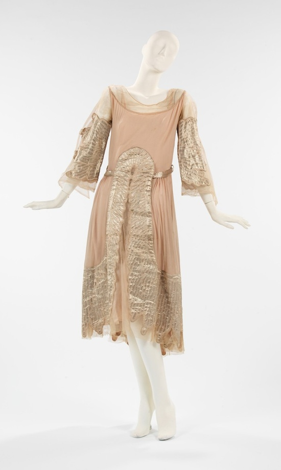 """Evening Dress, Jeanne Lanvin (French, 1867–1946) for the House of Lanvin (French, founded 1889): fall/winter 1925-1926, French, silk, metal. """"The arcing appliqué design is characteristic of Lanvin's aesthetic during the mid-1920s."""""""