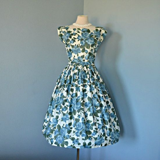 Vintage 1950s Polished Cotton Party Dress