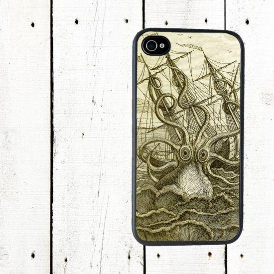 Kraken iPhone Case, Sea Monster iPhone 4 Case - iPhone 5 Case - Gifts Under 25 - Gifts for Men. $16.00, via Etsy.
