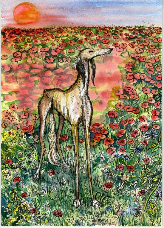 A Moment of Truth  Saluki Hound Dog Art Print by AlmostAnAngel66, £15.00