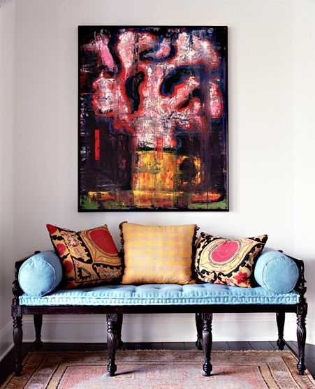 colorful mix with an antique bench