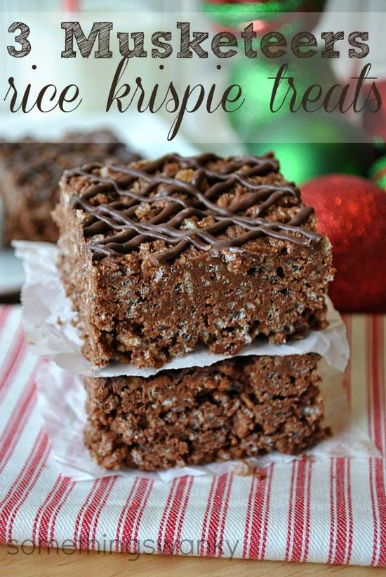 3 Musketeer Hot Chocolate Rice Krispie Treats. #food #bars #dessert