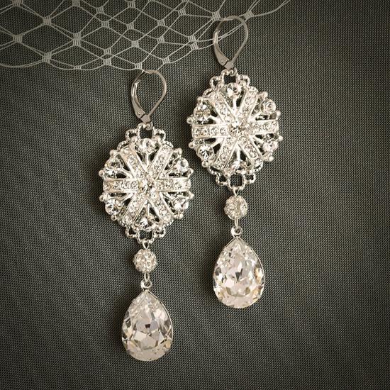 WILDA Vintage Wedding Chandelier Earrings by GlamorousBijoux. $70.00 USD, via Etsy.