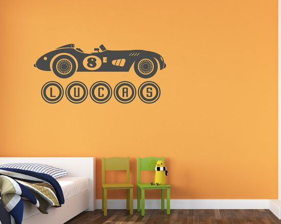 Vintage Sports Car Wall Decal Personalized Boy by VinylMyWalls, $25.00