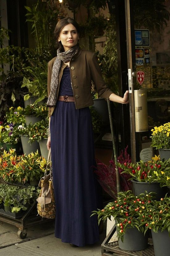 maxi dress with brown jacket