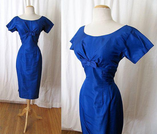 Lovely 1960's Peacock Blue Silk