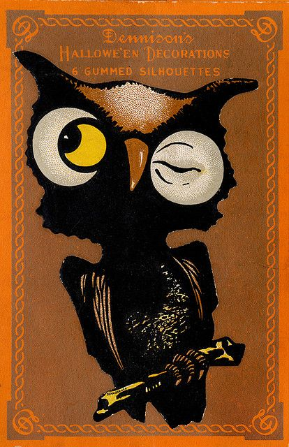Wonderfully cute package of vintage Halloween decorations featuring a winking owl on the front. #owl #decorations #decor #illustrations #Halloween #vintage #retro