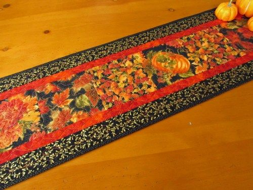Handmade Quilted Table Runner Fall Colors