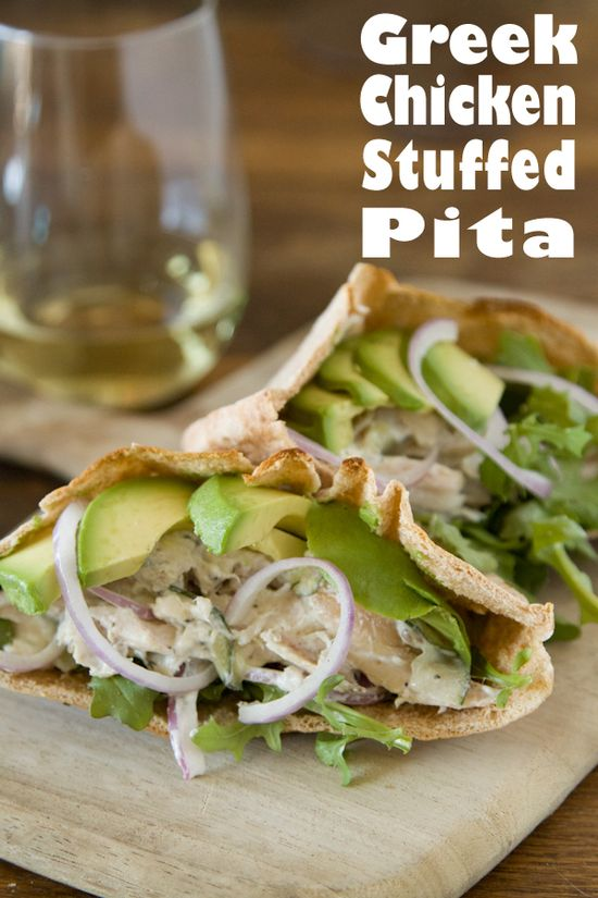 Greek Chicken Stuffed Pitas with Avocado from www.whatsgabycook...