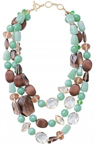 Another inspiring mix of materials: wood, stones, glass, all hand knotted into a fun necklace via Stella and Dot