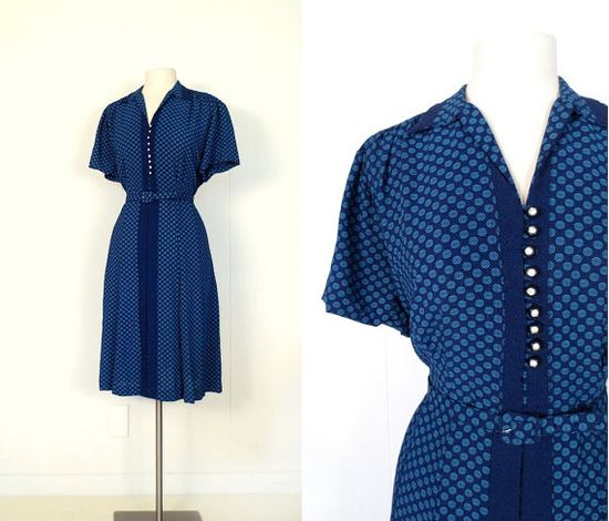 1940s Crepe Dress / DECO BLEU / Vintage 40s by SmallEarthVintage