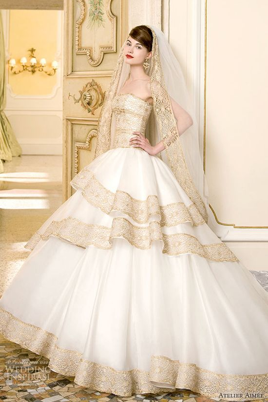 atelier aimee 2014 flavia strapless ball gown wedding dress gold lace
