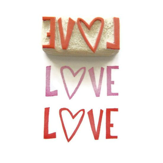 Give A Lot of Love - Hand Carved Rubber Stamp