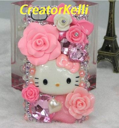 Cute kitty iPhone 5 Case Sweet Pink Barbie iPhone Cases iPhone 4 Case Flower Bow Swarovski Jewels iPhone 4s Case galaxy s3 case. $29.00, via Etsy.