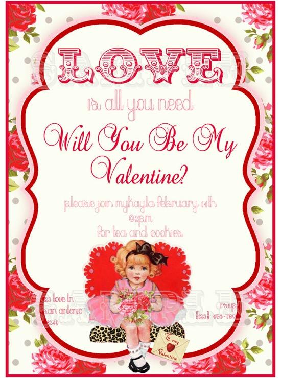 Vintage Valentines Invitation