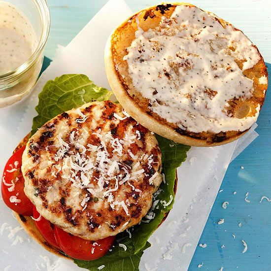 Impress your cookout crowd with these Chicken Caesar Burgers. More of our best grilled chicken recipes: www.bhg.com/...
