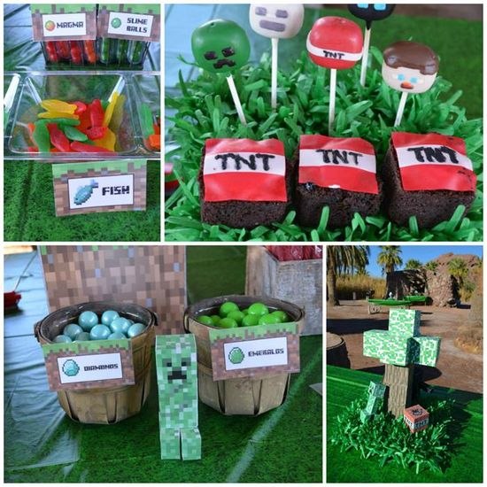 Minecraft Party with Full of Awesome Ideas via Kara' s Party Ideas KarasPartyIdeas.com #TweenParty #Minecraft #GamingParty #PartyIdeas #PartySupplies