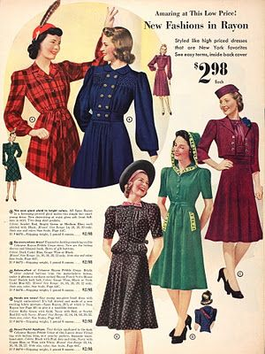 New fashions in rayon ~ Sears, Autumn/Winter 1940. #vintage #1940s #fashion