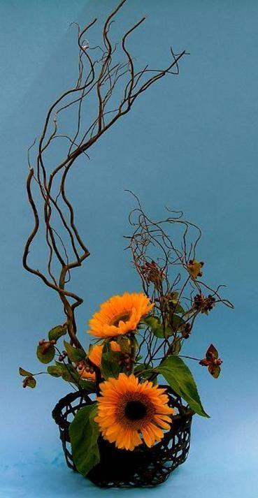 ikebana autumn sunflowers