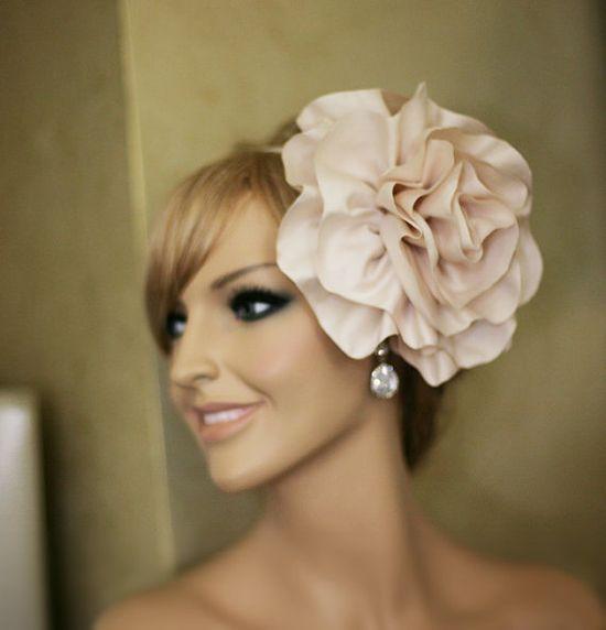 Wedding headpiece large flower headband cream by Lolambridal, $75.00