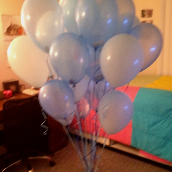 Money filled balloons! ..he loved it!