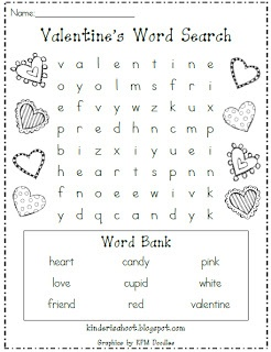 Kindergarten Is A Hoot!: Valentine's Day Word Search **FREEBIE**