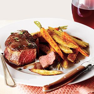 Beef Filets with Red Wine Sauce and Roasted Veggie Fries