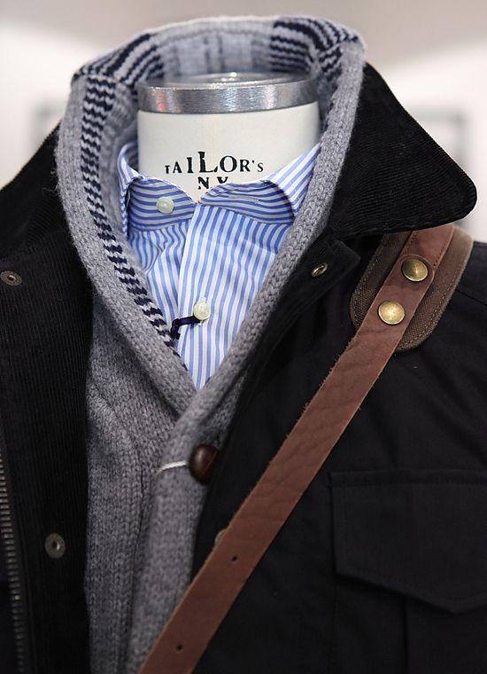 Grey cardigan, black outwear