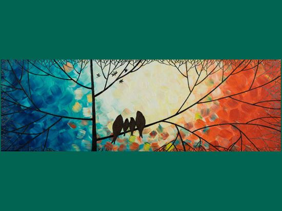 """Original Modern Abstract Heavy Texture Impasto Metallic Painting Landscape Tree Branches Wall Decor """"The Birds Family"""""""