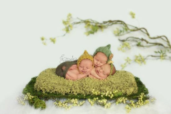 twins / set of two pixie hats photo prop baby boy baby girl light green sungold