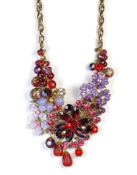 Flower Statement Necklace In Red and Purple, Repurposed Jewelry