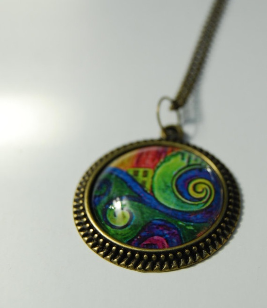 Large fine art pendant necklace antique brass  by NewCreatioNZ, $27.00