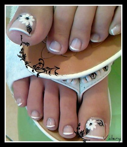 French Pedicure black and white flower nail art.