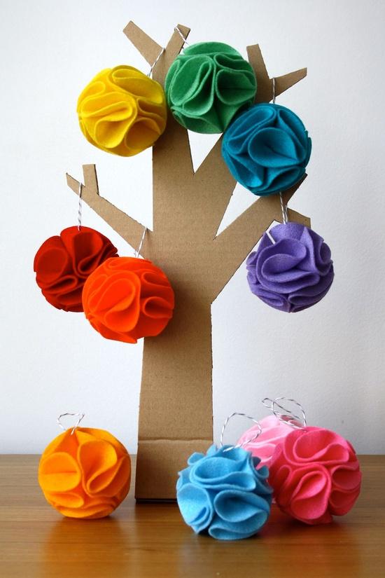 Christmas Decorations - Rainbow - Pom Pom Flowers - Set of 10 Ornaments