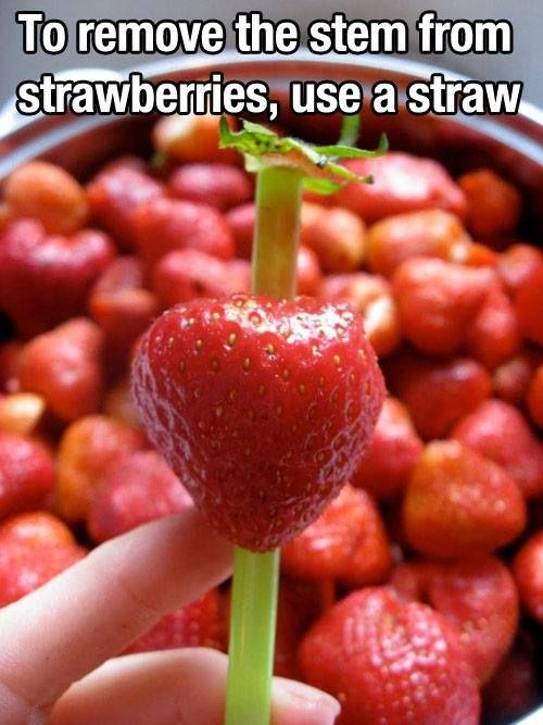 How to remove a stem from a strawberry!  Very neat!  #strawberries #cookingtips