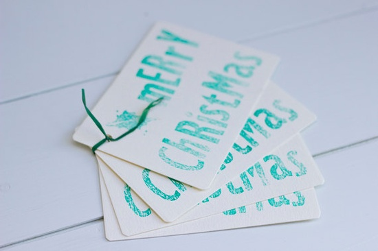 Green Letterpress Christmas Gift Tags x 4