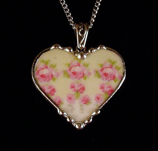 Broken china jewelry heart pendant necklace. Made from a shabby chic antique rose china plate by Dishfunctional Designs