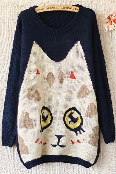 Cute Cat Graphic Sweater OASAP.com