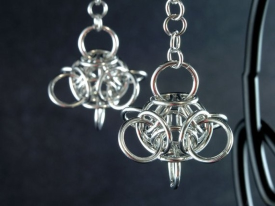 Tetra orb chainmaille earrings
